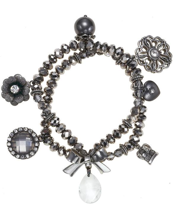 'Charm Du Jour'  Crystal Charm Stretch Bracelet - Hematite Plate