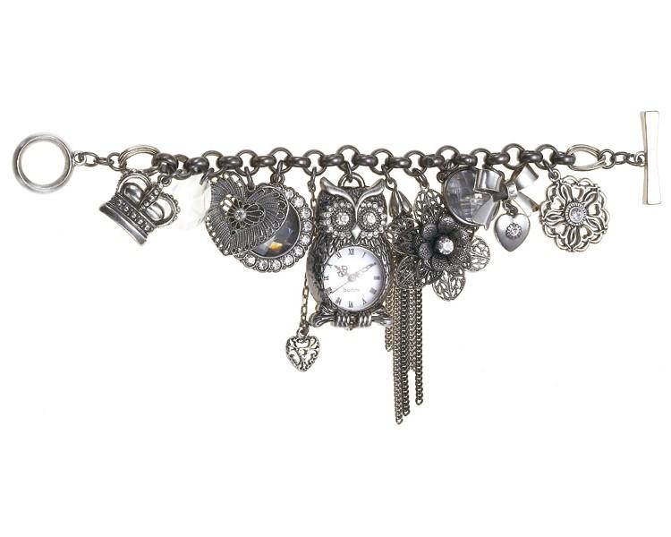 'Charm Du Jour' Owl Multi-Charm Bracelet - Hematite Plates