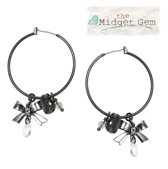 'Charm Du Jour'  Hoop & Charm Earrings - Hematite Plates