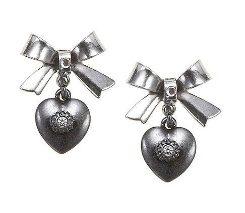 'Charm Du Jour'  Bow & Heart Earrings - Hematite Plates