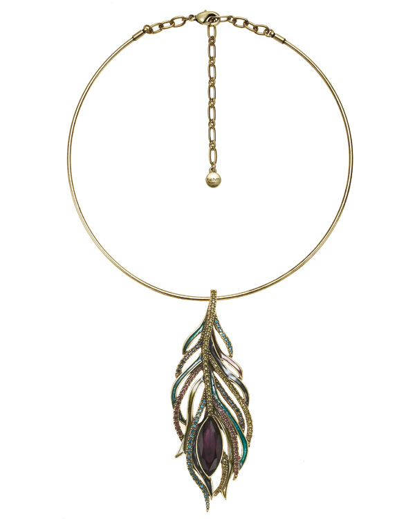 Peacock Feather Collar Necklace - Burnished Gold Plate
