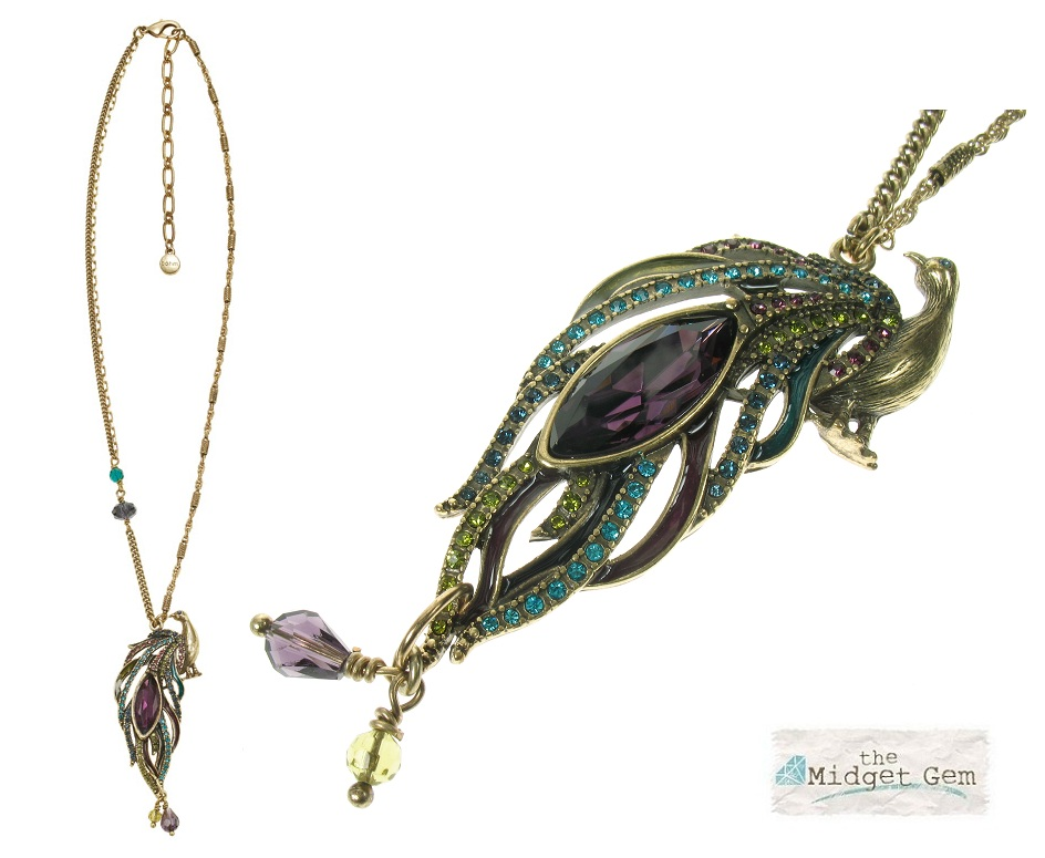 BOHM - Peacock Pendant Necklace - Burnished Gold Plate BNWT
