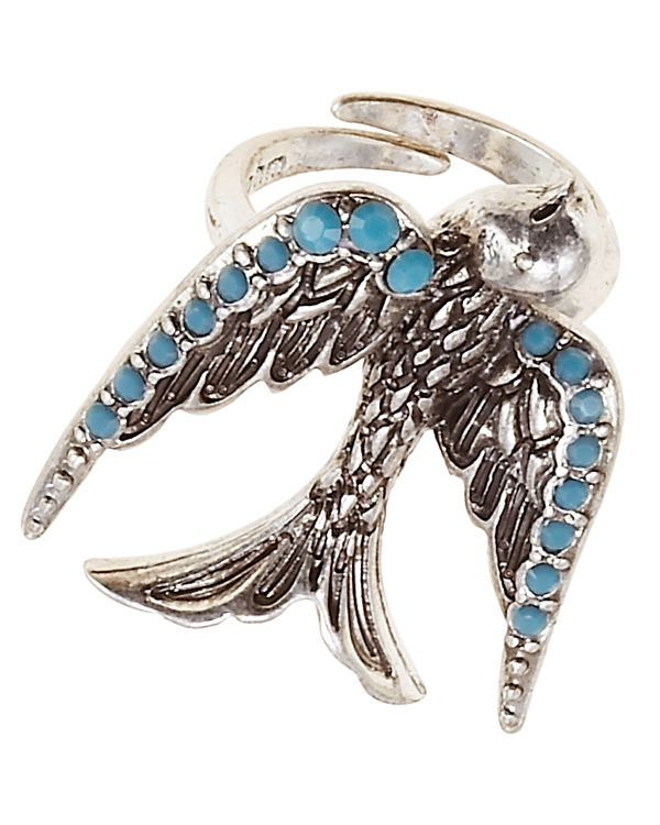 Cluster Allure Bird Motif Adjustable Ring Silver/Turquoise - THE BOHM