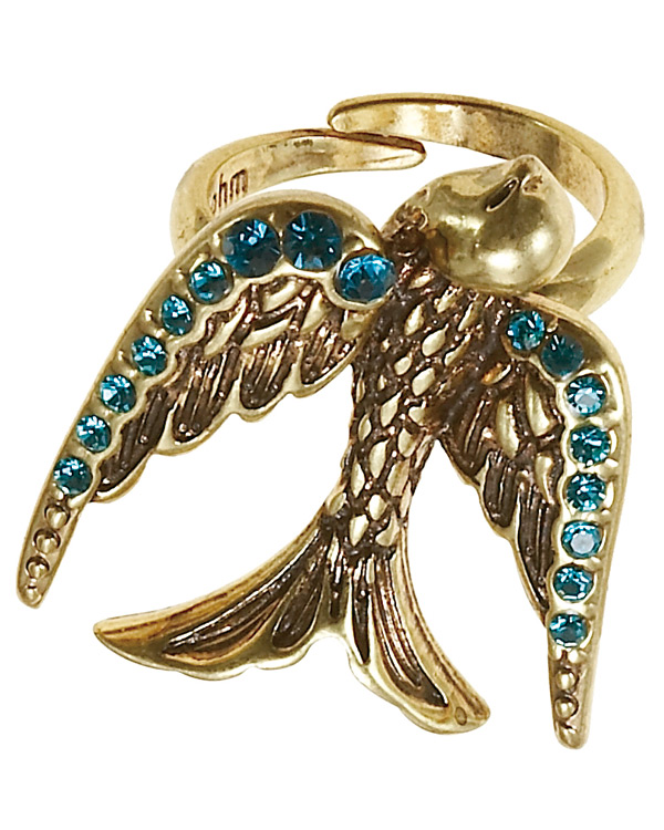 The Bohm Cluster Allure Bird Motif Adjustable Ring - Gold/Aqua Blue