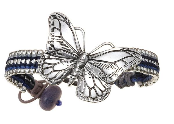 Butterfly Romance Woven Strap BOHM Bracelet - Silver/Blue