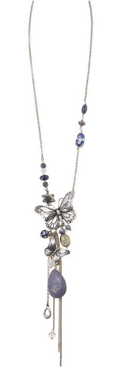 Bohm Butterfly Romance Long Necklace - Silver/Blue