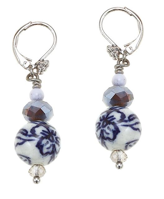 Butterfly Romance BOHM Bead Drop Earrings  - Silver/Blue