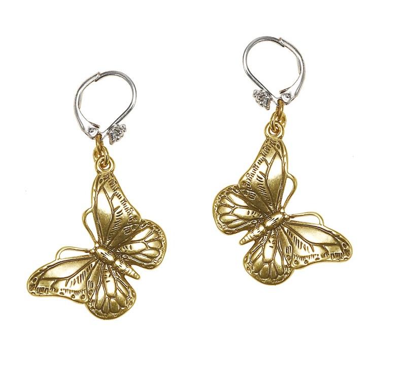 Butterfly Romance BUTTERFLY Drop Earrings - BOHM - Gold/Silver Mixed