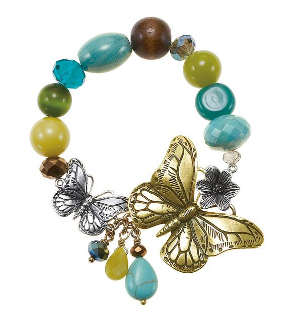 The Bohm Butterfly Romance Stretch Bead Bracelet - Gold/Silver/Green/Turquoise