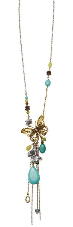 Bohm Butterfly Romance Long Necklace - Gold/Green/Turquoise