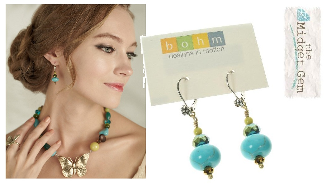 Butterfly Romance BOHM Bead Drop Earrings  - Gold/Silver/Green/Turquoise