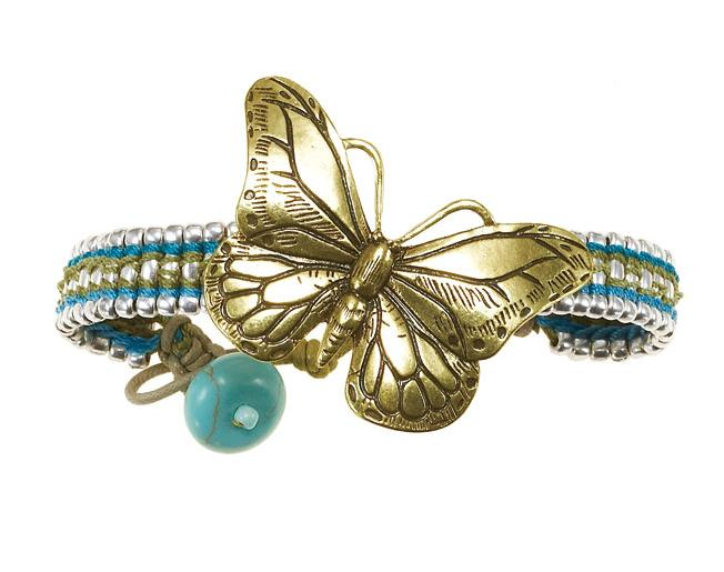 Butterfly Romance Woven Strap BOHM Bracelet - Gold/Silver/Green/Turquoise