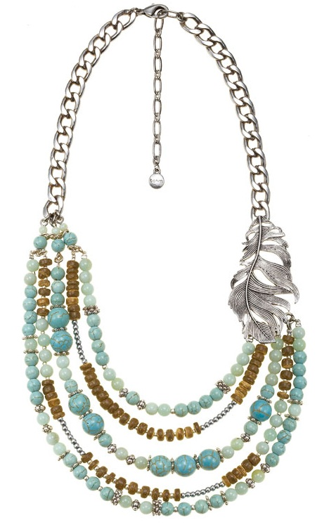 Free Spirit Multi-Layer Necklace - Burnished Silver Plate/Turquoise
