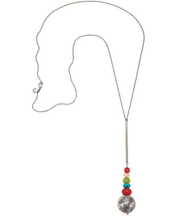 Bohm Gumball Flower Impressed Sphere Stack Pendant Long Necklace - Silver/Multi-Colours