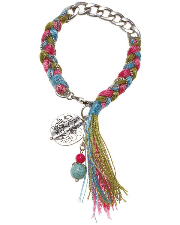 Bohm Gumball Flower Impressed Woven Bracelet - Silver/Multi-Colours