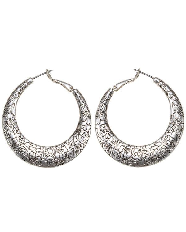 Bohm Gumball Flower Impressed Hoop Earrings - Silver