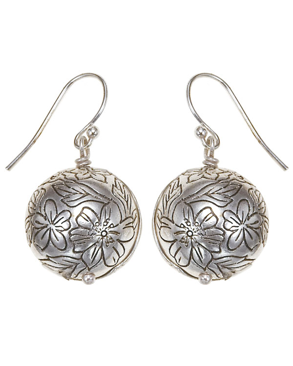 Bohm Gumball Flower Impressed Ball Earrings - Silver