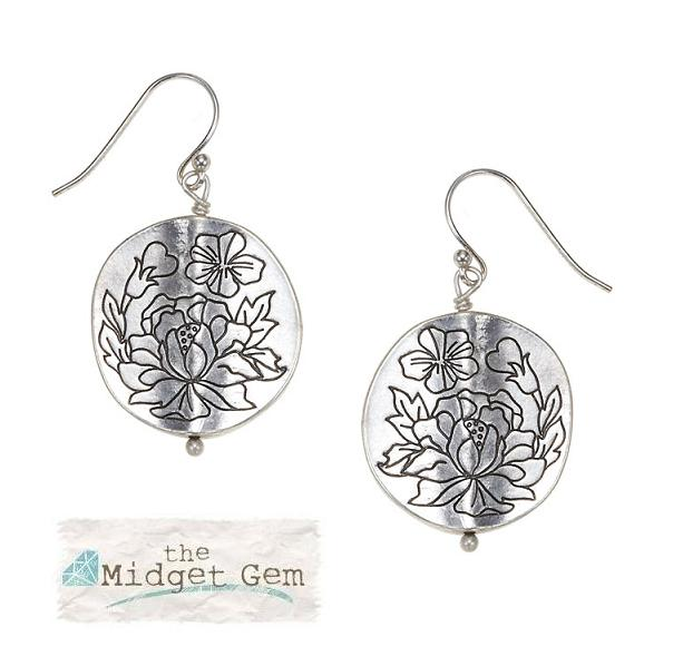 Bohm Gumball Flower Impressed Disc Earrings - Silver