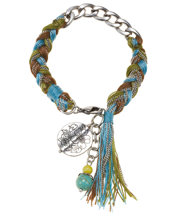 Bohm Gumball Flower Impressed Woven Bracelet - Silver/Turquoise