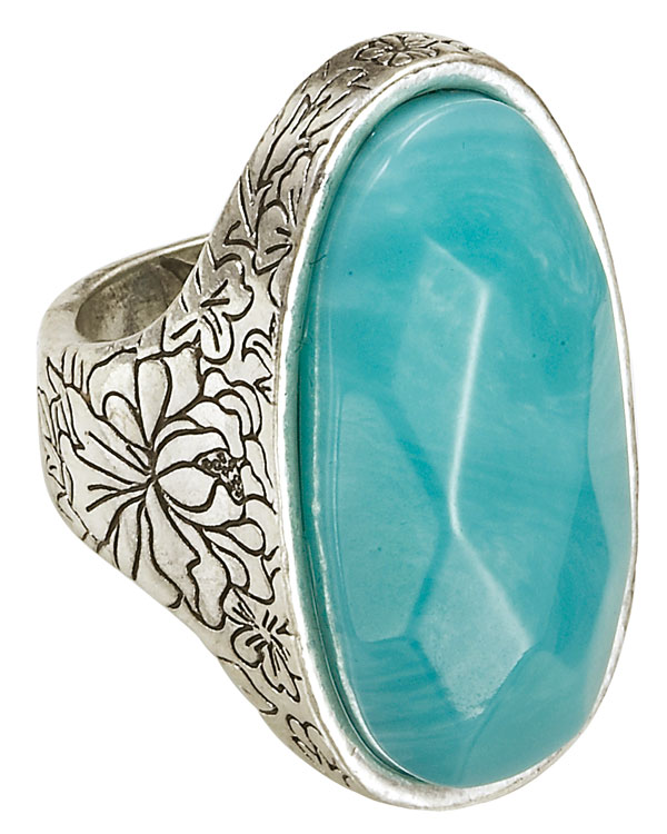 Bohm Gumball Flower Impressed Stone Insert Ring - Silver/Turquoise