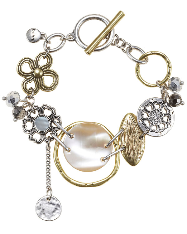 The Bohm Abalone Moon Disc T-Bar Bracelet - Gold/Silver Mixed