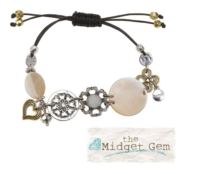 The Bohm Abalone Moon Disc & Leather Bracelet - Gold/Silver Mixed