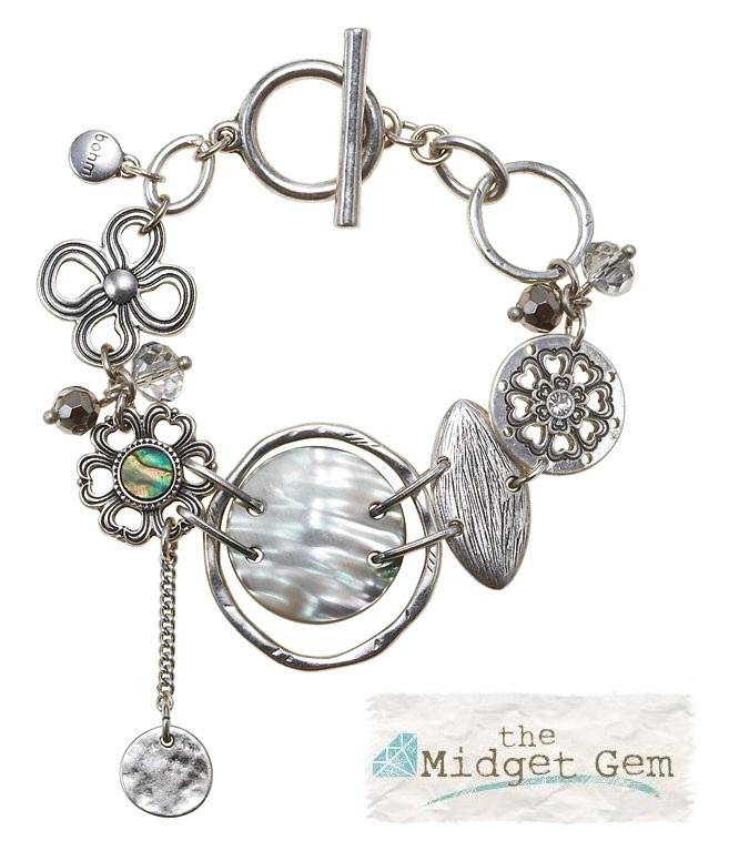 The Bohm Abalone Moon Disc T-Bar Bracelet - Silver Plate