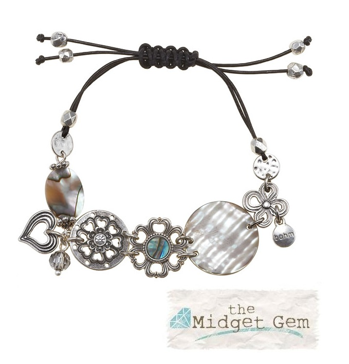 The Bohm Abalone Moon Disc & Leather Bracelet - Silver Plate