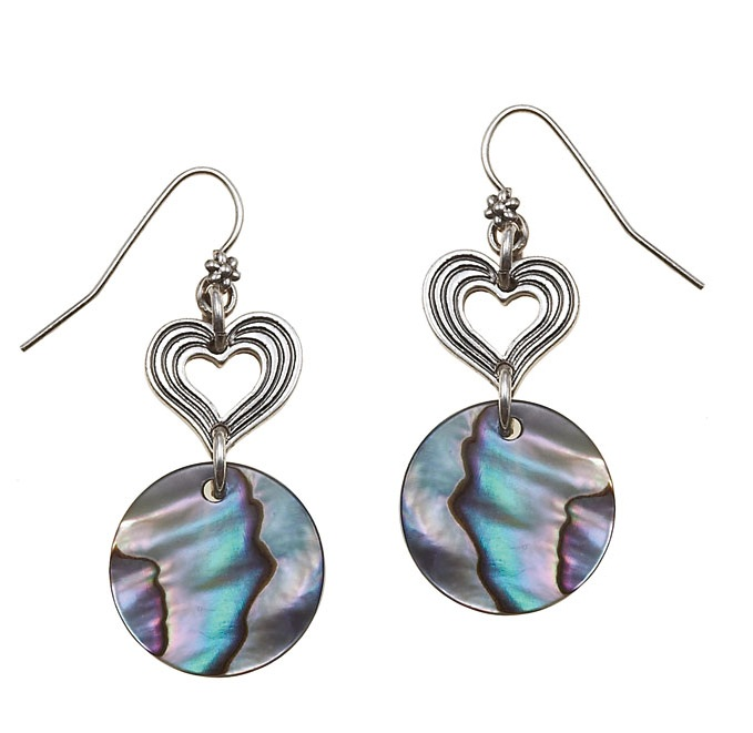 The Bohm Abalone Moon Disc & Heart Earrings - Silver Plate
