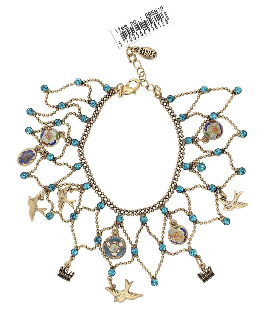 PILGRIM - Cameo Birds - Lace Cuff Bracelet Gold & Turquoise Blue BNWT
