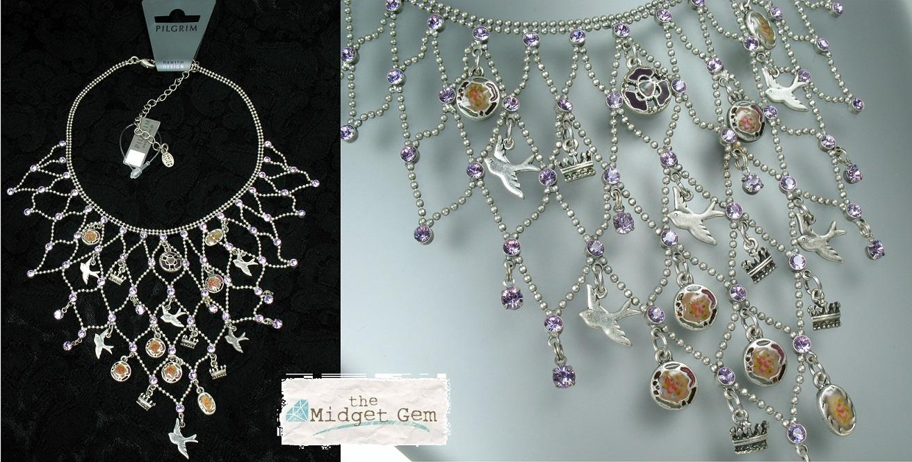 PILGRIM - Cameo Birds - V-Shaped Necklace Silver Lilac Purple Swarovski Crystal BNWT