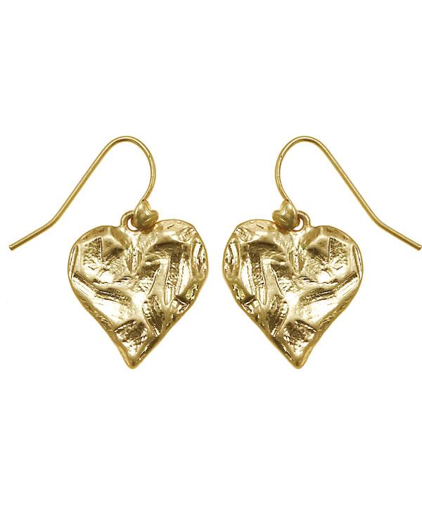 Bohm Hearts Desire Single Heart Dangly Earrings - Gold Plate