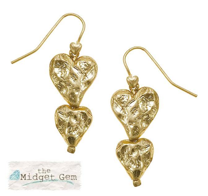 Bohm Hearts Desire Double Heart Dangly Earrings - Gold Plate