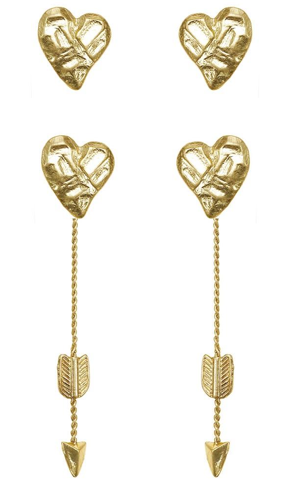 Bohm Hearts Desire Heart & Arrow Dangly & Stud Earrings - Gold Plate