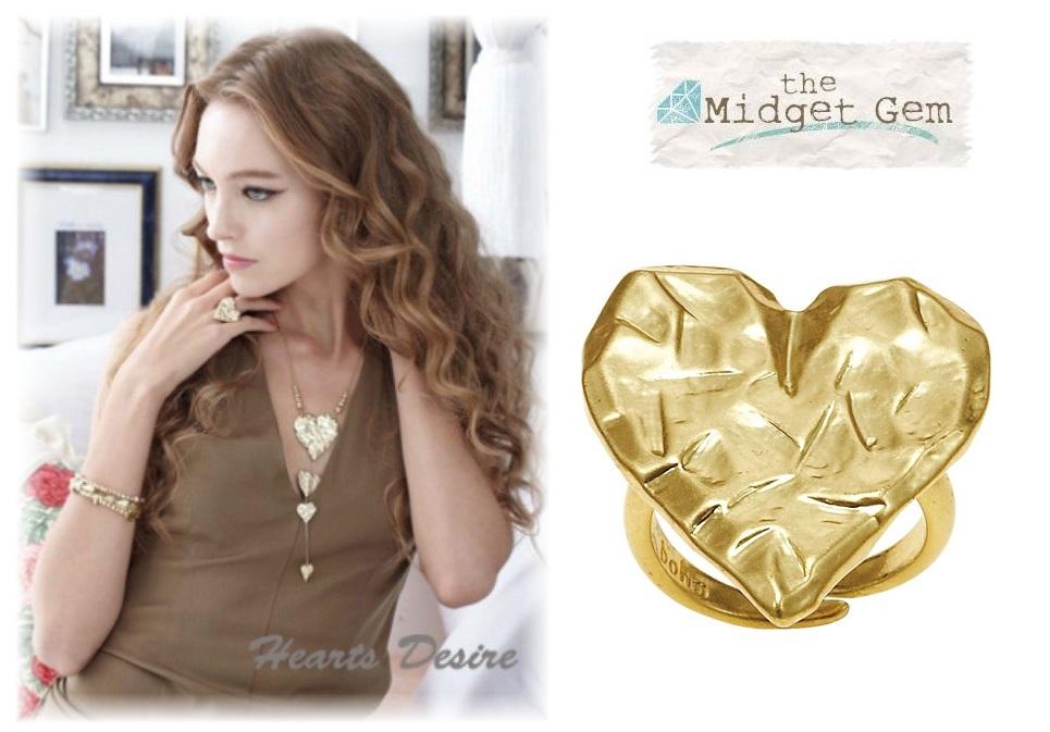 Bohm Hearts Desire Adjustable Ring - Gold Plate