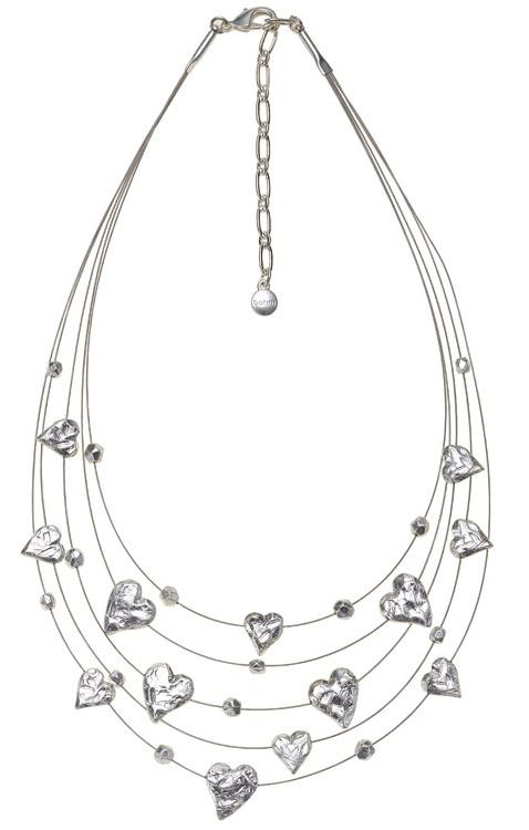 Bohm Hearts Desire Multi-Strand Necklace - Silver Plate