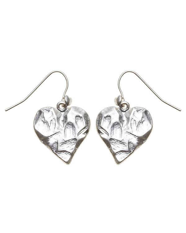 Bohm Hearts Desire Single Heart Dangly Earrings - Silver Plate