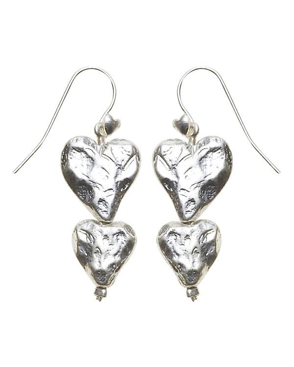 Bohm Hearts Desire Double Heart Dangly Earrings - Silver Plate