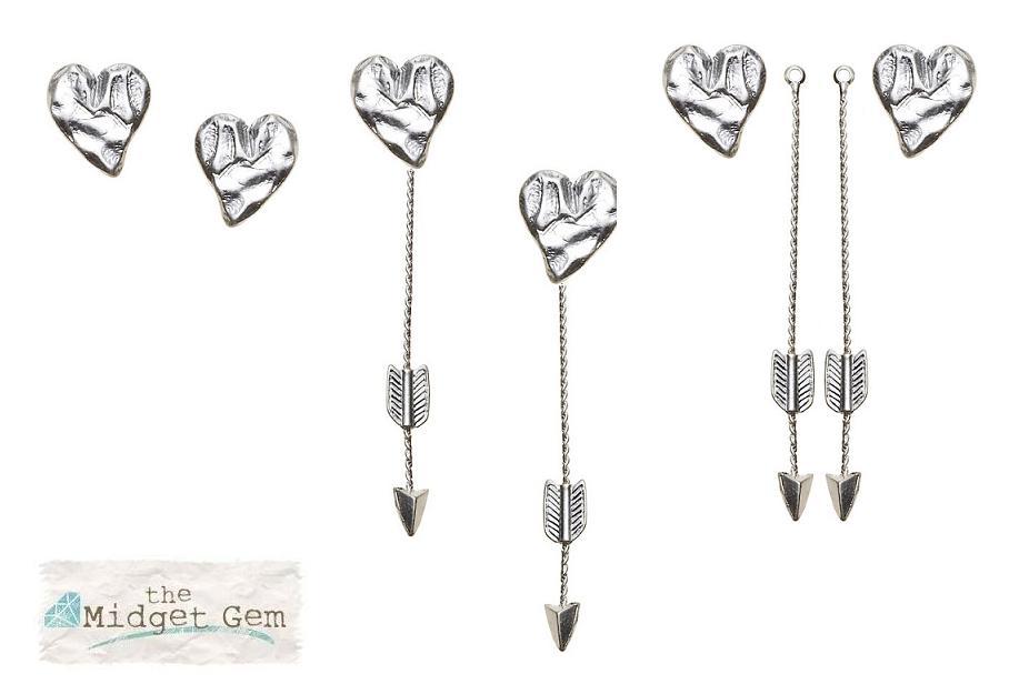 Bohm Hearts Desire Heart & Arrow Dangly & Stud Earrings - Silver Plate