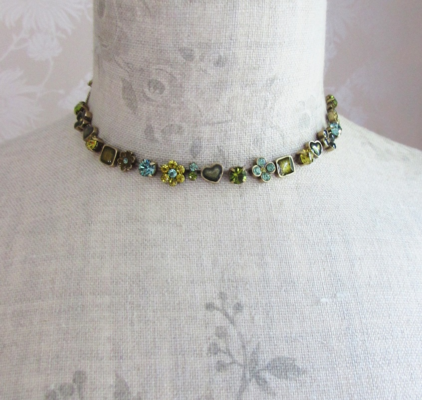 PILGRIM - Lucky in Love - All-Round Necklace - Gold/Green BNWT