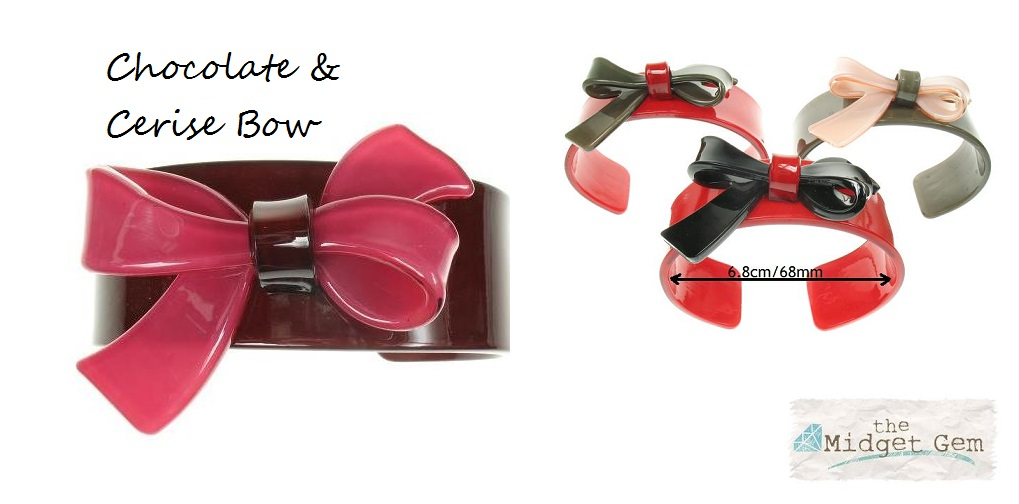 Slim Bow Cerise & Chocolate Cuff - BIG BABY Bangle