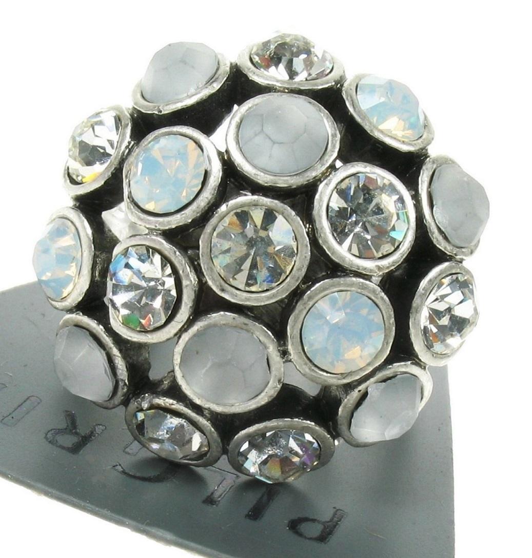 PILGRIM - Crystal Globes - Cushion Ring - Oxidised Silver Plate/White BNWT