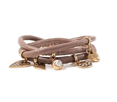 A & C Leather Wrap Bracelet - Brown & Gold Plate