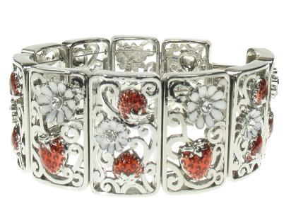 A & C Strawberry Panel Bracelet - Rhodium Silver Plate