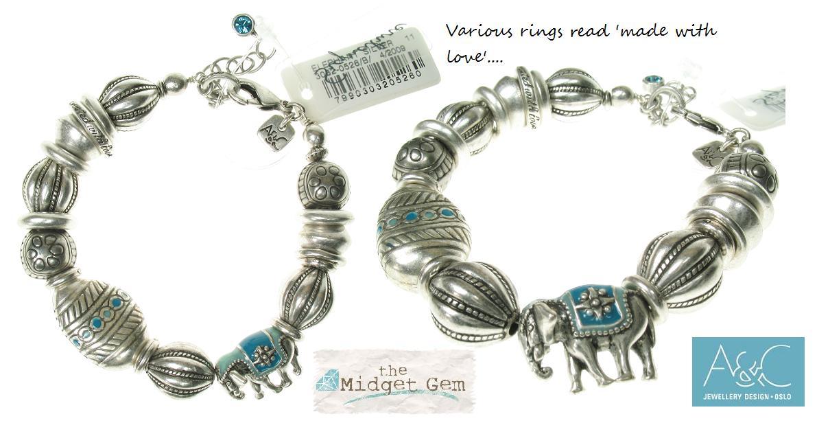 A & C Elephant  Adjustable Bracelet - Silver/Blue