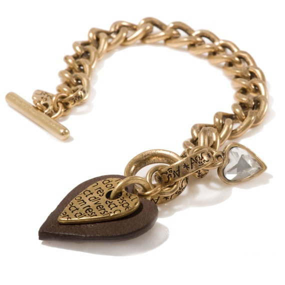 A & C Leather Heart T-Bar Bracelet - Brown & Gold Plate