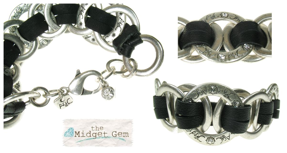 A & C Leather Ring Bracelet - Black & Silver Plate