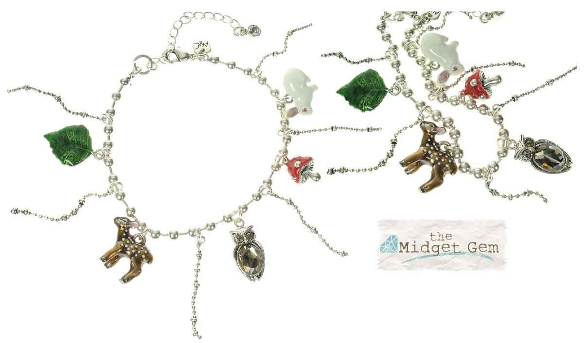 A & C - Funny Mushroom, Owl Charm Bracelet (Oxidised Silver Plate)