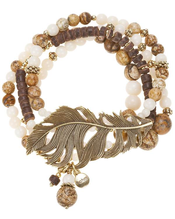 The Bohm Free Spirit Multi-Layer Bracelet - Burnished Gold Plate/Naturals Browns/Creams