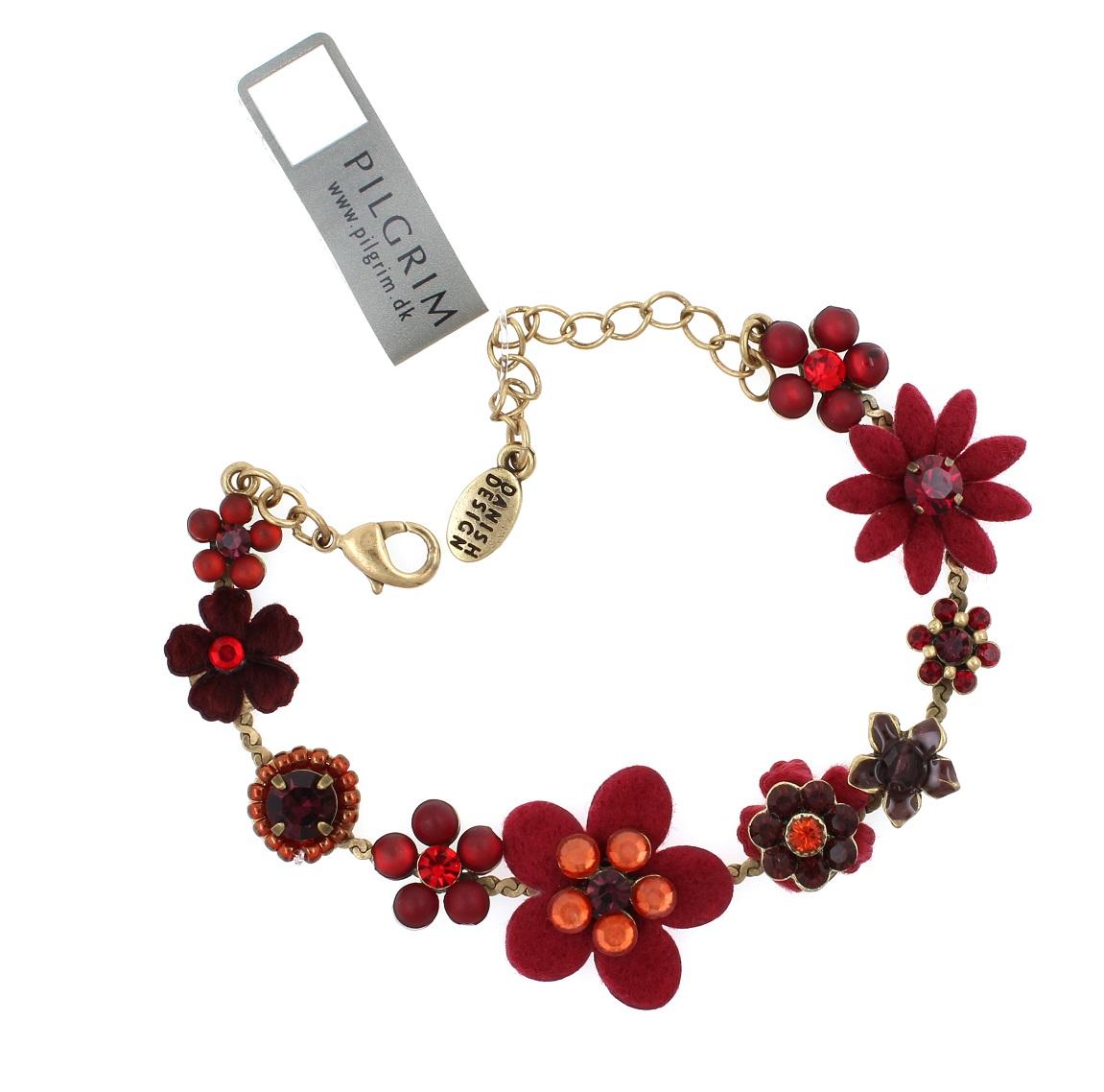 PILGRIM - Felt Flowers - Bracelet - Red/Gold BNWT